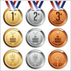 Medals with Ribbon. Set of Gold, Silver and Bronze Medals. Vector.