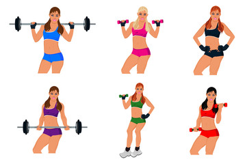 set, fitness woman, exercising, sport, vector