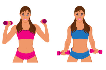 fitness woman, exercising, sport, vector