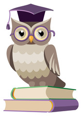 owl with books and graduate cap