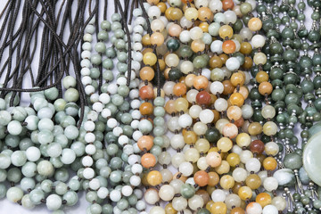 Beautiful close-up Bracelet and necklace beads stones