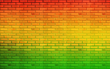 green red yellow brick Wall background Reggae style