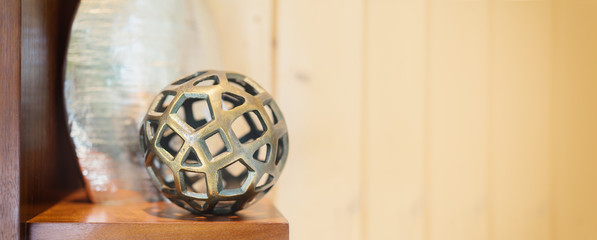 Contemporary modern art objects display interior decor style on shelf