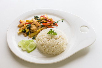 "Thai stir fried chicken and basil with rice or "" Khao Pad Kra Pr"