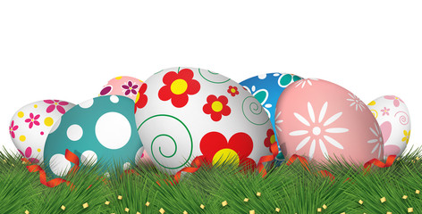 color easter eggs on grass. white background [clipping path]