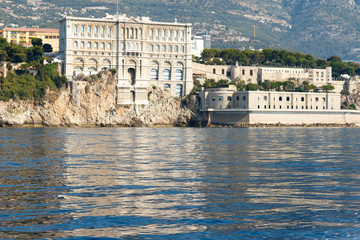 Color DSLR stock image of Monte Carlo harbor in Monaco as seen from the blue Mediterranean Sea.  Horizontal with copy space for text