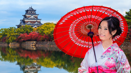 Young Japanese Woman in front of Hiroshima Castle