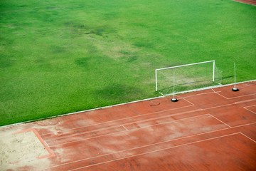 Football field in soft light