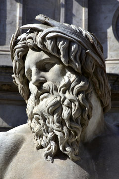River Ganges statue as greek god from Fountain of Four Rivers at the center of Navona Square, in Rome