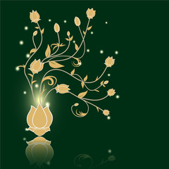 Floral abstract vector green background