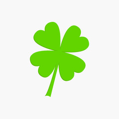 Clover leaf. Four petal green clover. Flat design. Isolated. White background