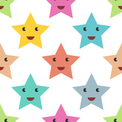 Smiling stars seamless pattern