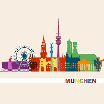 München Sehenswürdigkeiten bunte Silhouette - Liebfrauenkirche Stachus Bavaria Fernsehturm Riesenrad Oktoberfest - Skyline Vektor Grafik