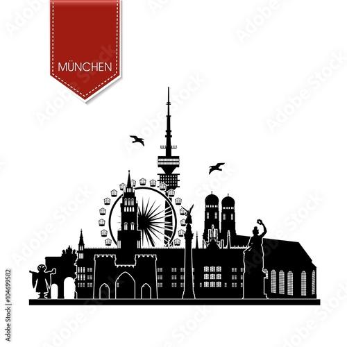 m nchen silhouette sehensw rdigkeiten liebfrauenkirche stachus bavaria fernsehturm riesenrad. Black Bedroom Furniture Sets. Home Design Ideas