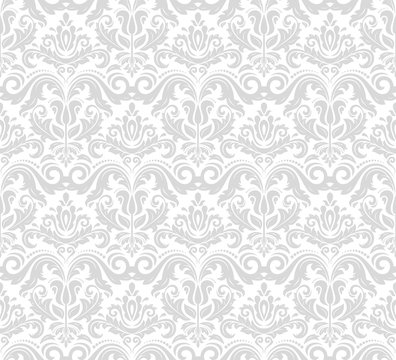 Damask seamless ornament. Traditional silver pattern. Classic oriental background