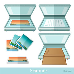 flat scanner make scan from paper book picture icon on white