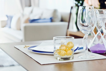 elegant dining table,Detail image of Place settings on elegant dining table
