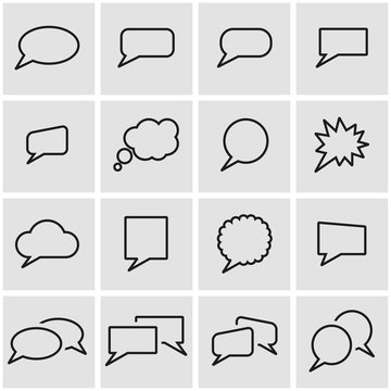 Vector line speach bubbles icon set. Speach Bubbles Icon Object, Speach Bubbles Icon Picture, Speach Bubbles Icon Image - stock vector