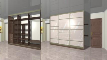 design Cabinet with  sliding doors 3D rendering