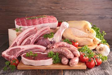 Deurstickers Vlees raw meats
