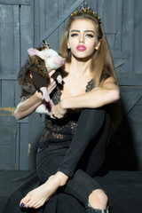Elegant woman with pig