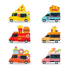 Food Truck, Fast Food Shop, Pizza, Burger, Steak, Donut, Ice Cream and Drinks
