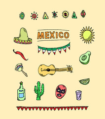 Hand drawn vector set of mexican symbols