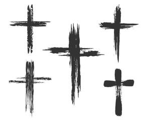 Brush painted cross icons