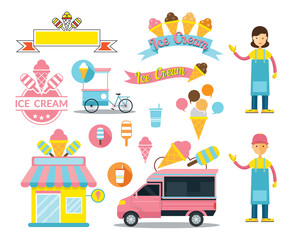 Ice Cream Shop Graphic Elements, Store, Truck, Seller, Cartoon, Icons, Logo
