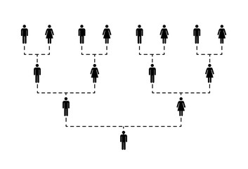Family tree of several generations on white