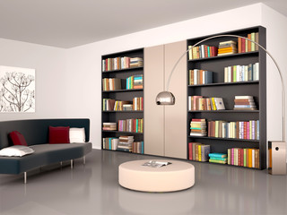 3d illustration of Modern reading room. The wall of the bookcase