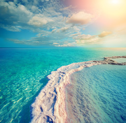 Fototapete - The path from the evaporated salt in the Dead Sea. Israel