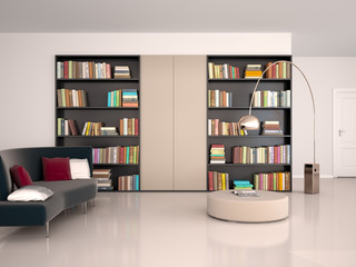 3d illustration of Interior of modern room for reading. The wall