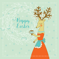 Cute card with a lady-deer and wreath. Happy easter. Banner, placard, poster. Vector.