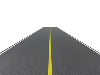 Asphalt road on a white background.
