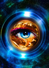 """Planet earth and blue human eye - """"Elements of this image furnished by NASA."""