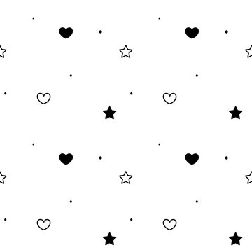 black white simple seamless vector pattern background illustration with hearts and stars