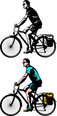 cyclist riding - vector silhouette