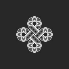 Monogram infinity logo, geometric linear loop design element, parallel thin line infinite art decoration, harmony emblem