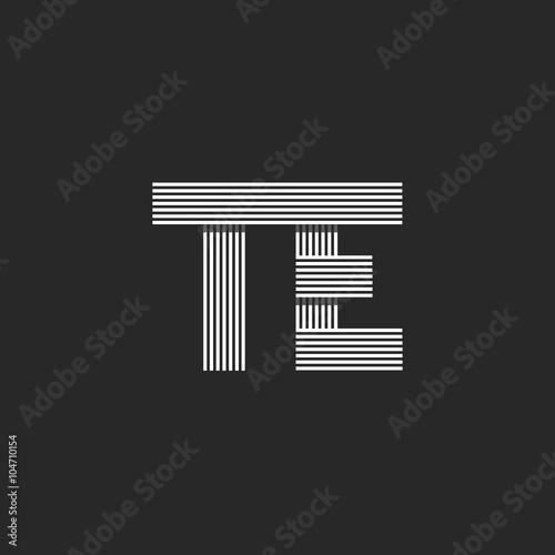 Initials te letters logo monogram wedding invitation design element initials te letters logo monogram wedding invitation design element combination couple symbols offset thin stopboris Images