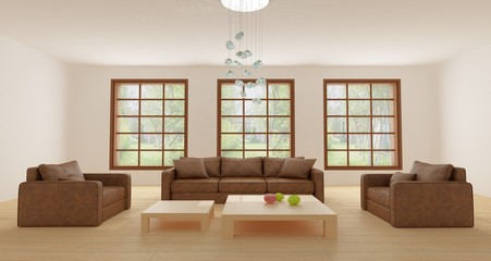 Leather sofa and two leather armchairs in light sitting room with hardwood floor, large windows, modern chandelier and two coffee tables
