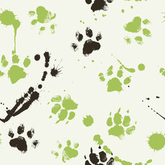 Vector seamless pattern with paw footprints of a dog