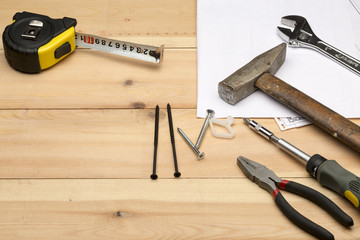 Set of different hand tools for repair and construction