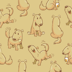 Seamless pattern with cartoon funny dogs on beige background. Cute puppies. Vector image.
