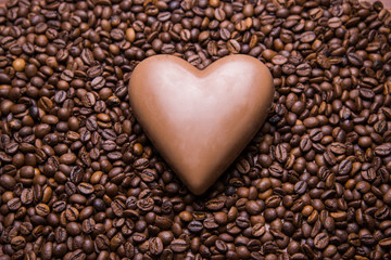Coffee beans wallpaper with chocolate heart