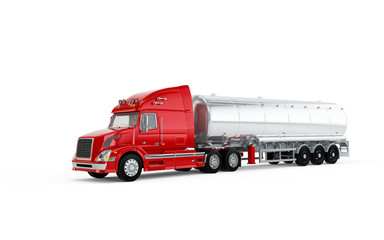 Red american truck with big cistern isolated on white background