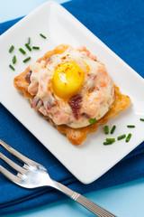Tartlet ham and egg appetizer