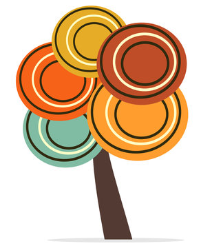 abstract tree with colorful circles vector concept illustration