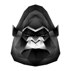 Vector low poly gorilla monkey