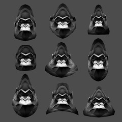 Set of low poly monkeys